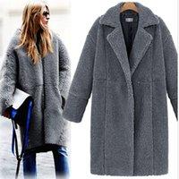 Mulheres grossas inverno casaco de lã cinza 2016 novos cordeiros macios casaco mulheres camisola no casaco de mangas compridas casaco jaqueta casaco H136
