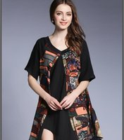 women v- neck cartoon printing dress big yards asymmetrical s...