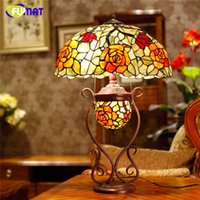 European Tiffany Stand Lamp Creative Stained Glass Rose Oval...