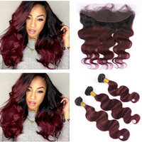 Dark Roots 99J Burgundy Ombre Ear to Ear 13x4 Full Lace Fron...