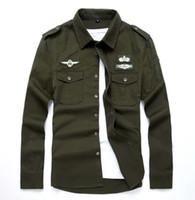 Мужчины Aeronautica Air Force One рубашки Мужчины с длинным рукавом Повседневная вышивка Logo Patch Plane Pilot Повседневная рубашка