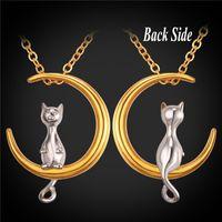 U7 Cat Moon Pendentif Collier Nouveau Chaud Acier inoxydable / Chaîne plaquée or pour Pet Lucky Jewelry Femmes Lovely Gift Accessories GP2419