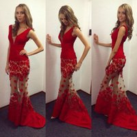 Charming Red Sexy Plunging V Neck Mermaid Evening Dresses 20...