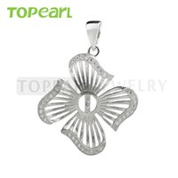 9PM163 Teboer Jewelry 5pcs / LOT Pétale Pendentif Blanks pour perles 925 Sterling Silver Cubic Zirconia Findings