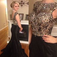 Illusion Beaded Prom Dresses 2017 Satin with Crystal Bead V-...