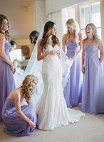 Lavander 2016 Длинные платья невесты рябить Линия Милая шеи шифон Длинные платья партии с рукавов Zip Назад платье партии