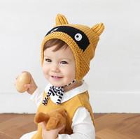 Baby Girls Knitting Hats Cartoon Black Eye Caps Cute Kids Ha...