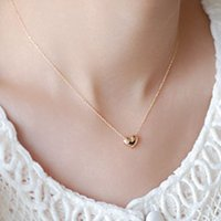 Heart - shaped clavicle necklace 2- color optional Clothing a...
