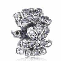 2017 Nouvelle Journée de la mère White Flower Infinity Spacer Charme Pour Pandora Bracelet DIY Bead Charm 925 Sterling Silver Jewelry