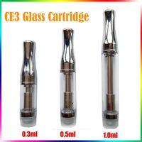 Cartouches de réservoir en verre CE3 Bud Pyrex Glass Dual Coil CBD Vaporisateur de cire à l'huile de chanvre 510 Filetage 0.3 0.5 1.0ml Clearomizer