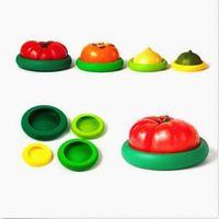 4pcs / set assortiment de nourriture Hugger capsules en silicone alimentaire alimentaire fruits légumes réutilisables conservation de l'outil des aliments de stockage des contenants CCA5630 50set