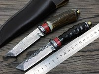 Small warrior (antlers and black claw) Damascus fixed blade ...