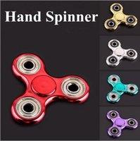 5 colores de oro galjanoplastia Tri-Spinner Fidget juguete mano Spinner dedo descompresión ansiedad Gyro con caja al por menor CCA5931 300pcs