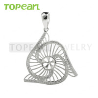 9PM168 Teboer Jewelry 3pcs / LOT Suspension en spirale Big Big 925 Sterling Silver Cubic Zircon Jewelry Blanks