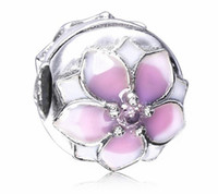 2017 Nouvelle Journée Mère Blanc Rose Cherry Flower Clip Charm Fit Pour Pandora Bracelet DIY Bead Charm 925 Bijoux en argent sterling
