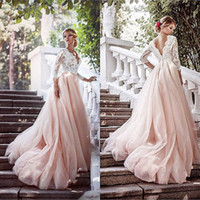 Урожай 2017 года Страна Blush Pink Свадебные платья V шеи Кружева Тюль с длинными рукавами Открытый Назад Длина пола Свадебные платья