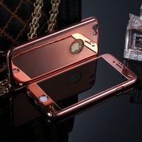 Pour iphone 6 6S plein 360 degrés étui Electroplate miroir pour iPhone 7 plus cas protecteur dur Protecteur d'écran en verre trempé