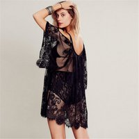 Women Beach Dress Sexy Strap Sheer Floral Lace Embroidered C...