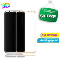 S8 Edge 3D Verre trempé courbé 0.26mm 9H Film protecteur d'écran complet pour Samsung S8 Edge Plus Emballage en bois