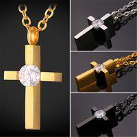 U7 Jesus Pieces Cross Pendentif Collier Zircon Cubique Acier inoxydable / Or / Black Gun Plaqué Chaîne de corde Religieux Christian Jewelry GP2442