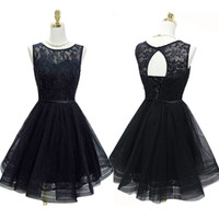 Modern Black Short Prom Dresses Real Photos Custom Made A- Li...
