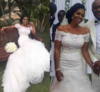 2017 года в Южной Африке нигерийского Длинные полный шнурок Mermaid Свадебные платья плеча Короткие рукава Шлейф Аппликации Backless Свадебные платья
