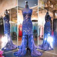 One Shoulder Real Photo Prom Dresses Royal Blue Lace Sheath ...