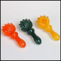 New Arrival Glass Main pipe bleu et vert gros bol verre fumant tuyaux à main tuyau à cuillère Livraison gratuite
