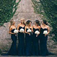 2017 Новый синий Bridemaid платья Милая рукавов Sweep Поезд Bridemaid платья Русалка Backless Zipper Элегантный горничной честь платья