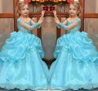 New Princess Ball Gown Girls Pageant Dresses 2017 Beaded App...