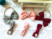New bow baby hair barrette clips printing ribbon fashion but...