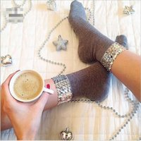 Fall Winter Women Socks Original Design Handmade Sequins Sol...