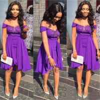 Короткие Фиолетовый Платья невесты плеча с кружевом аппликация Mini Homecoming платья Вернуться на молнии длиной до колен выполненное на заказ коктейль Gowns