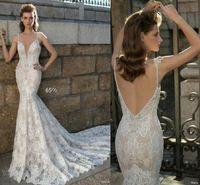 Бретельках Берта шнурка Mermaid 2016 года Свадебные платья 2017 года Свадебные платья Sexy Глубокий V-образным вырезом Часовня Поезд Аппликации Свадебные платья партии