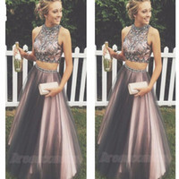 Sparkly Two Pieces Prom Dress with Beads A Line Crystal Bead...