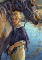 девушка и лошадь, чисто Ручная роспись Импрессионизм маслом на размер высокого качества Canvas.customized принял уг-ра