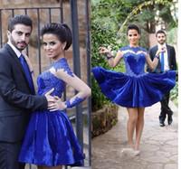 2017 Royal Blue Velvet Homecoming платья высокого шеи с кружевом аппликация длиной до колен Пром платья Длинные рукава Выполненные на заказ Коктейльные платья