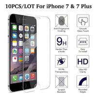10PCS / LOT Protecteur d'écran en verre trempé pour iPhone 7 7 Plus Film protecteur Pas de conditionnement au détail