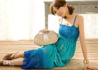 Wholesale- 2016 Fashion Summer Sexy Sling Gradient Slim waist...