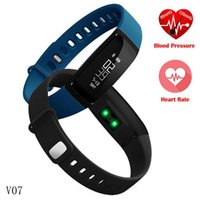 V07 Bluetooth Smart Wristbands Pression artérielle Moniteur de fréquence cardiaque Fitness Tracker Smartband étanche IP67 Bracelet intelligent
