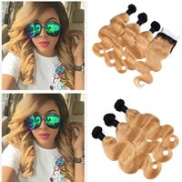 Strawberry Blonde Ombre Brazilian Human Hair Weaves With Clo...