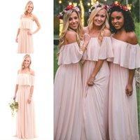 2017 New Vintage Blush Pink Bohemian Bridesmaid Dresses Long...