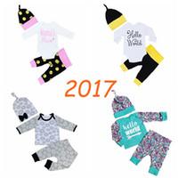 Baby Boys Girls Clothes Floral T- shirt Tops + Pants + Cap 3p...