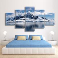 5 Панели Снежные горы пейзаж Живопись Холст печати Современный домашний декор настенной живописи для гостиной Unframed