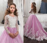 Прелестный шнурка Appliqued девушки Pageant платья для свадьбы Sheer Длинные рукава Линия Белые и розовые платья для девочек Дети первого причастия