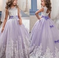 2017 Latest Purple and White Flower Girls Dresses For Weddin...
