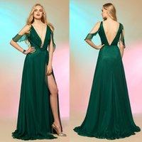 Sexy Dark Green Prom Dress Long Deep V Neck Backless Side Sp...