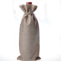 10pcs lot Jute Wine Bottle Gift Bags burgundy 16*36cm Christ...