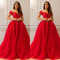 Red 2017 Ball Gown Lace Evening Dresses Appliques Beaded Off...