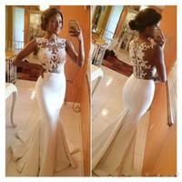 Cap Sleeves Sheer Lace Mermaid Prom Dresses 2016 Black Girls...